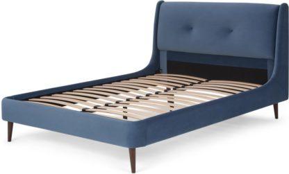 An Image of Raffety King Size Bed, Dawn Blue Velvet