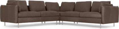 An Image of Vento 5 Seater Corner Sofa, Texas Charcoal Grey Leather