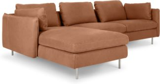 An Image of Vento 3 Seater Left Hand Facing Chaise End Sofa, Texas Tan Leather
