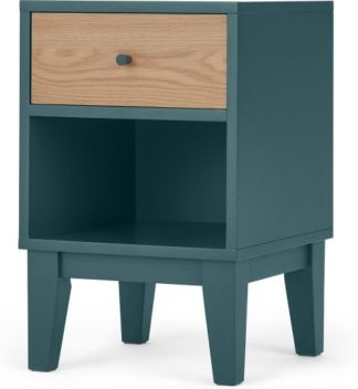 An Image of Ralph Bedside Table, Oak & Teal