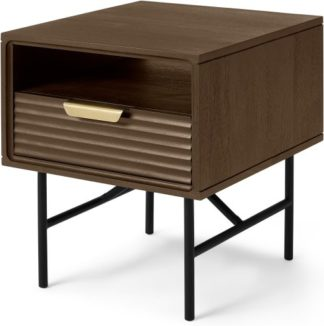 An Image of Haines Bedside Table, Mango Wood & Brass