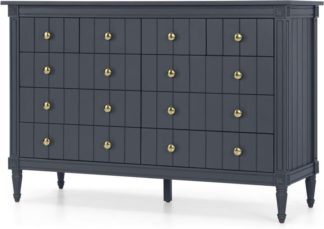 An Image of Bourbon Vintage Wide Chest Of Drawers, Slate Blue