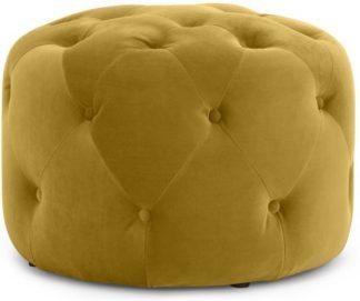 An Image of Hampton Small Round Pouffe, Vintage Gold Velvet