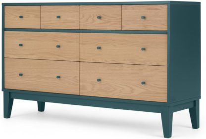 An Image of Ralph Wide Chest of Drawers, Oak & Teal