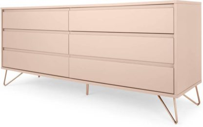 An Image of Elona Wide Chest Of Drawers, Dusk Pink and Copper