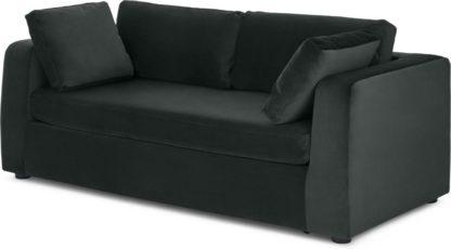 An Image of Mogen 3 Seater Sofa Bed, Dark Anthracite Velvet