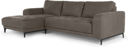 An Image of Luciano Left Hand Facing Corner Sofa, Texas Grey Leather