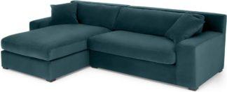 An Image of Delaney Left Hand Facing Chaise End Corner Sofa, Lagoon Blue Velvet