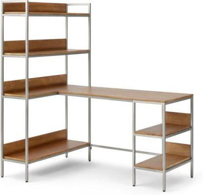 An Image of Lomond Adjustable Corner Desk, Honey Mango Wood & Brushed Steel