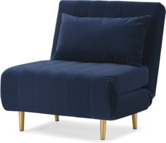 An Image of Bessie Single Sofa Bed, Royal Blue Velvet