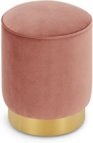 An Image of Hetherington Small Brass Base Pouffe, Blush Pink Velvet
