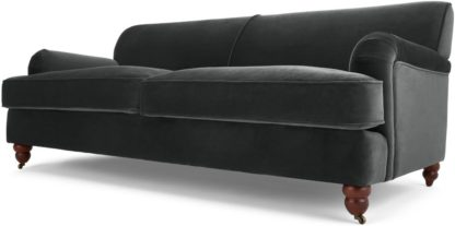 An Image of Orson 3 Seater Sofa, Midnight Grey Velvet