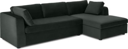 An Image of Mogen Right Hand Facing Chaise End Sofa Bed, Dark Anthracite Velvet