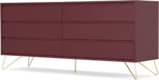 An Image of Elona Wide Chest of Drawers, Oxblood Red and Brass