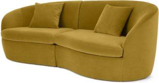 An Image of Reisa 3 Seater Sofa, Vintage Gold Velvet