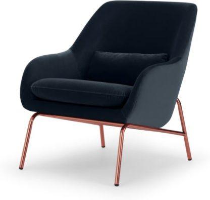 An Image of Henrik Accent Chair, Twilight Blue Velvet & Copper