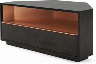 An Image of Anderson Corner TV Stand, Mocha Mango Wood and Copper