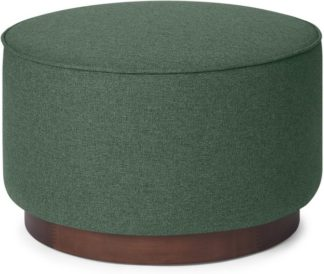 An Image of Hetherington Large Wooden Pouffe, Darby Green & Dark Stain Wood