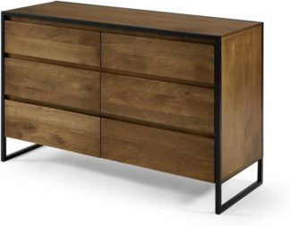 An Image of Rena Wide Chest of Drawers, Mango Wood & Black