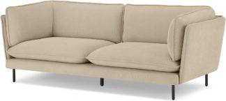 An Image of Wes 3 Seater Sofa, Stone Micro Corduroy Velvet
