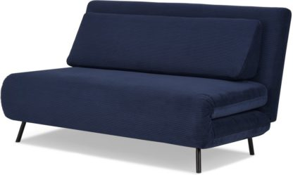 An Image of Kahlo Large Double Sofa Bed, Navy Corduroy Velvet