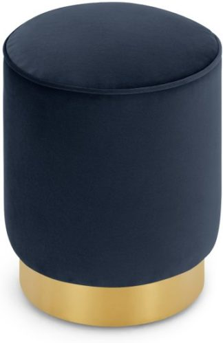 An Image of Hetherington Small Brass Base Pouffe, Royal Blue Velvet
