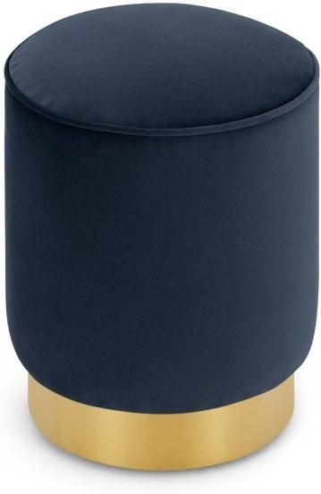 An Image of Hetherington Small Brass Base Pouffe, Royal Blue Velvet