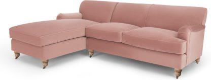 An Image of Orson Left Hand Facing Chaise End Corner Sofa, Vintage Pink Velvet