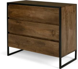 An Image of Rena Chest of Drawers, Mango Wood and Black Metal