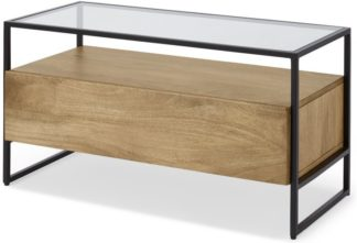 An Image of Kilby Compact TV Stand, Light Mango Wood and Glass