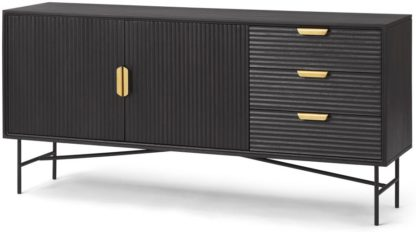 An Image of Haines Wide Sideboard, Charcoal Black Mango Wood