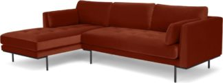 An Image of Harlow Left Hand Facing Chaise End Sofa, Brick Red Velvet
