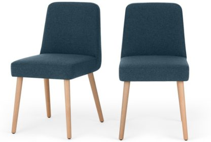 An Image of MADE Essentials Adams Set of 2 Dining Chairs, Orleans Blue