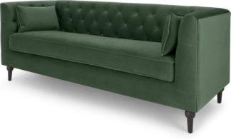 An Image of Flynn 3 Seater Sofa, Elm Green Velvet