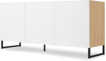 An Image of MADE Essentials Hopkins Large Sideboard, Oak Effect & White