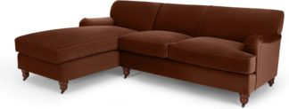 An Image of Orson Left Hand Facing Chaise End Sofa Bed, Warm Caramel Velvet