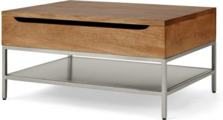 An Image of Lomond Lift Top Coffee Table with Storage, Honey Mango Wood & Brushed Steel