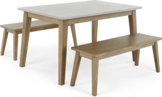 An Image of Fawn Dining Table and Bench Set, Zinc and Mango wood