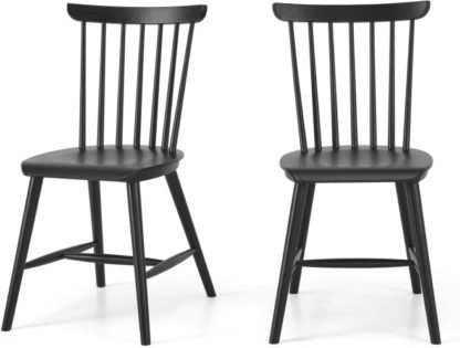 An Image of Deauville Set of 2 Dining Chairs, Charcoal Black