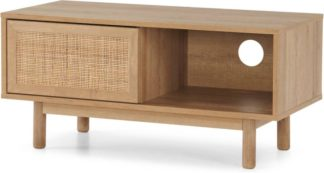 An Image of Pavia Compact TV Stand, Natural Rattan & Oak Effect