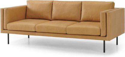 An Image of Savio 3 Seater Sofa, Chalk Tan Leather