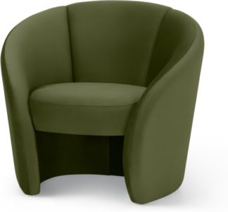 An Image of Abigail Accent Armchair, Fir Green Velvet