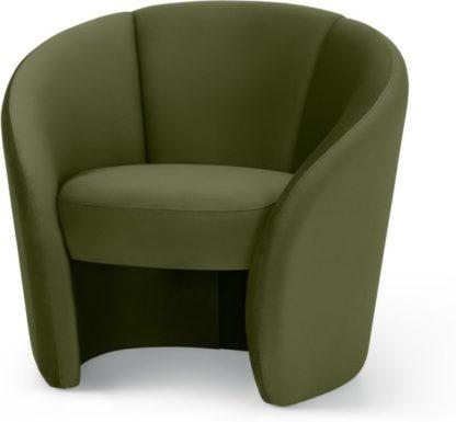 An Image of Abigail Accent Armchair, Fir Green Velvet