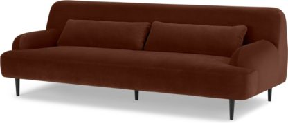 An Image of Giselle 3 Seater Sofa, Warm Caramel Velvet