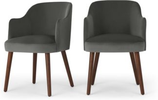 An Image of Set of 2 Swinton Carver Dining Chairs, Steel Grey Velvet & Dark Stain