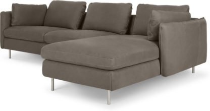 An Image of Vento 3 Seater Right Hand Facing Chaise End Sofa, Texas Grey Leather