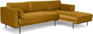 An Image of Harlow Right Hand Facing Chaise End Sofa, Vintage Mustard Velvet