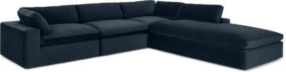 An Image of Samona Right Hand Facing Full Corner Sofa, Dark Blue Velvet