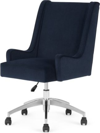 An Image of Higgs Office Chair, Royal Blue Velvet