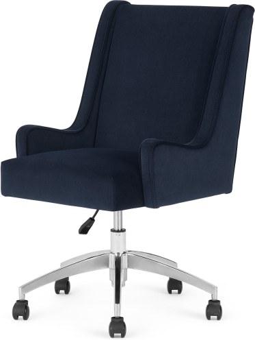 An Image of Higgs Office Chair, Royal Blue Velvet